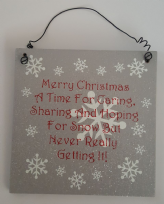 Silver Glitter Merry Christmas Snowflake Hanging Plaque